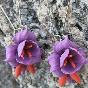 Very Light Purple Orange Floral Earrings